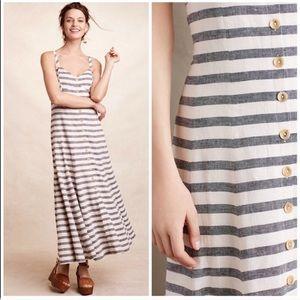 Anthropology Maeve Striped Linen Maxi Dress